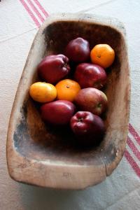 Baktråg med röda äpplen