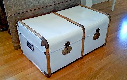 Måla koffert vit