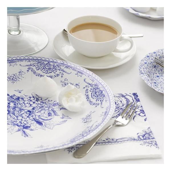 Papperstallrik porslin blått vitt